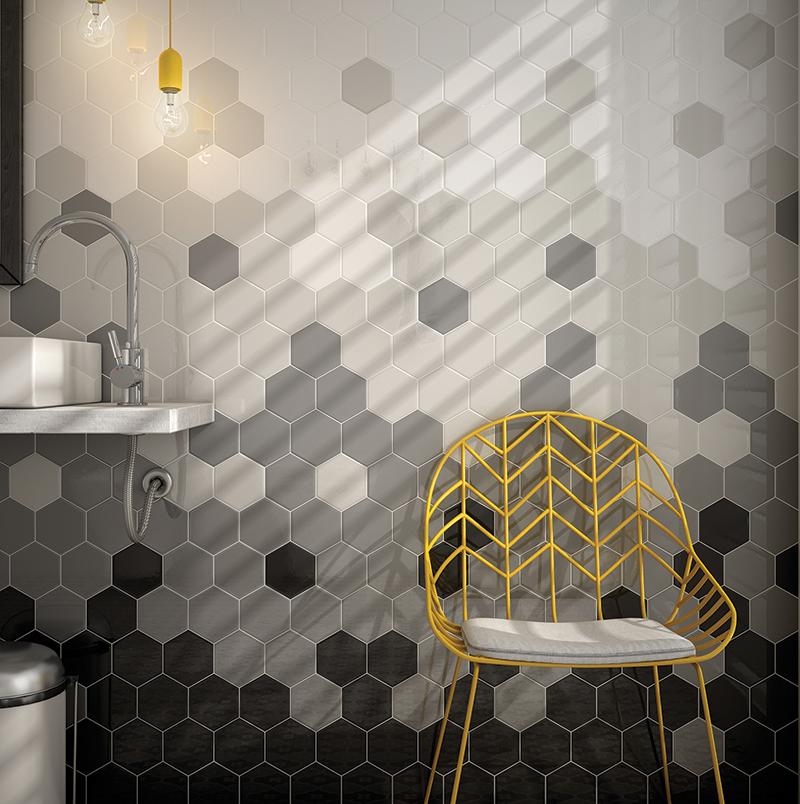 Gradient For Bathroom Floor : Capra chevrons hexagons grestec tiles tile supplier